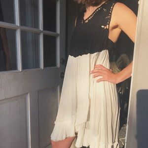 Free People Open Back Lace and Frayed Linen Dress